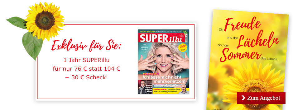 SUPERillu - 52 Ausgaben lesen oder verschenken + 30 € Scheck