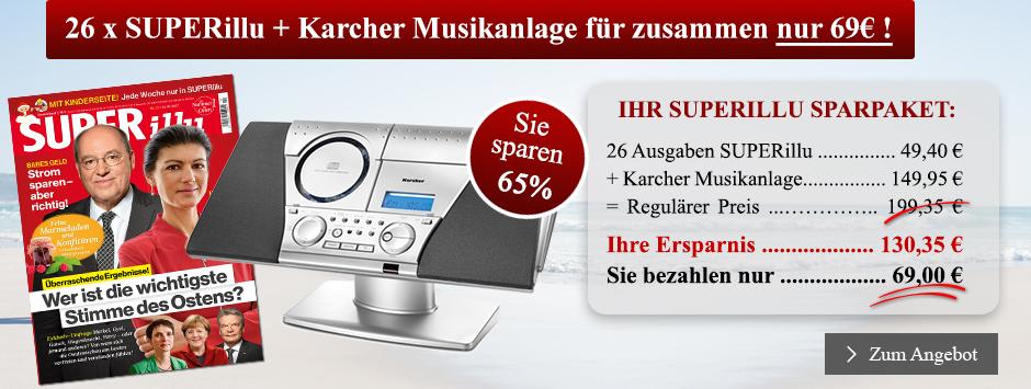 26 x SUPERillu + Karcher Musikanlage für zusammen nur 65€ sichern!